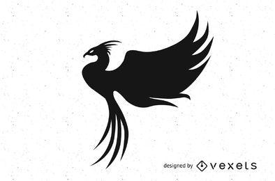 Elegante silueta de pájaro fénix