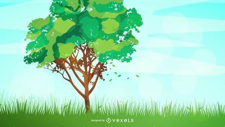 Fondo de paisaje de árbol de primavera