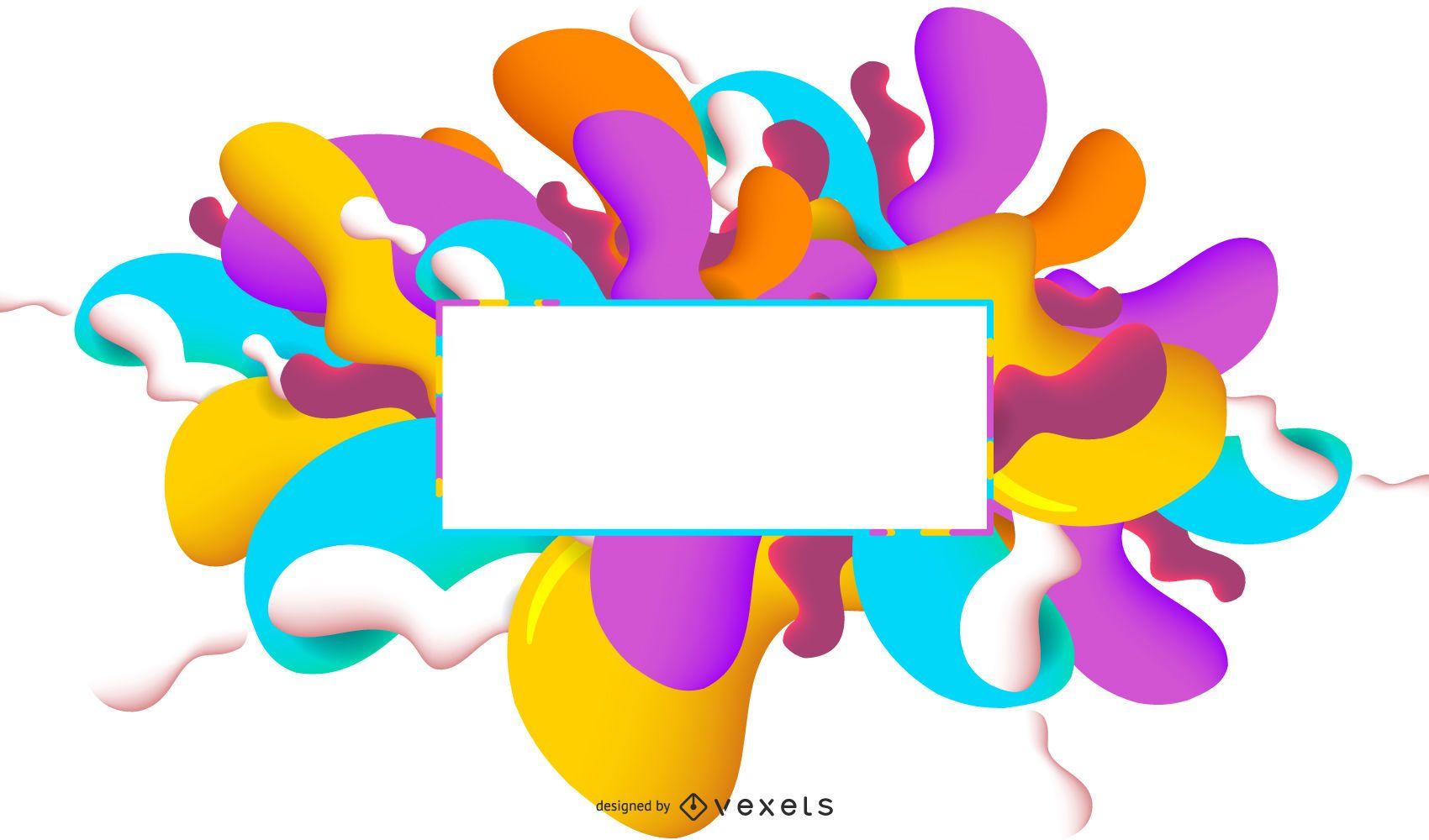 Caixa de texto 2D com respingos abstratos