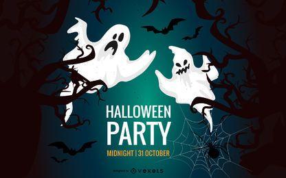 Invitación del partido de la noche de Halloween