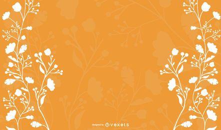 Floral branco em fundo laranja
