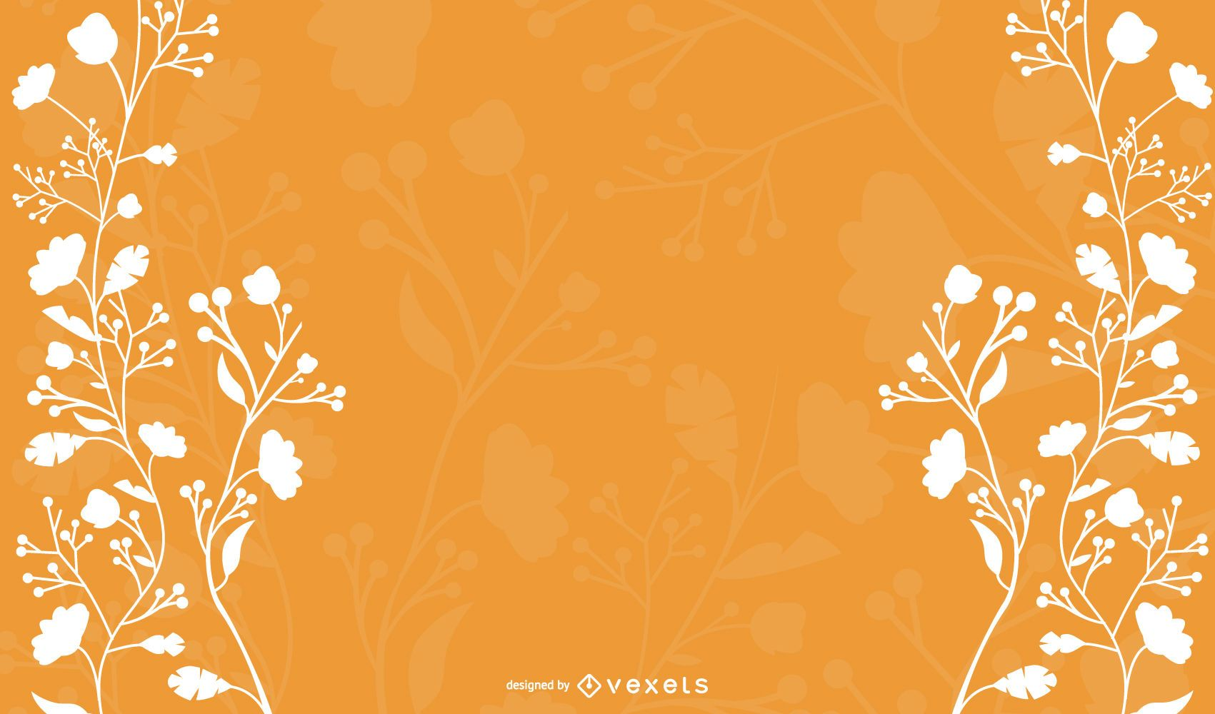 Floral blanco sobre fondo naranja