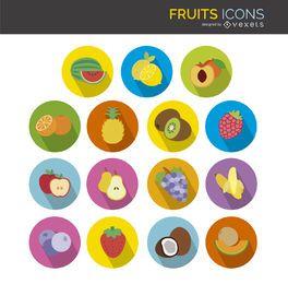 Ícones lisos frutas definido