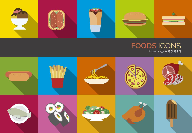 Conjunto de iconos de comida