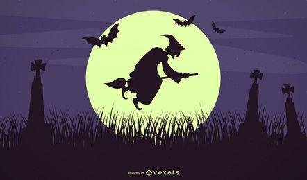 Fundo de noite de Halloween de morcegos bruxa