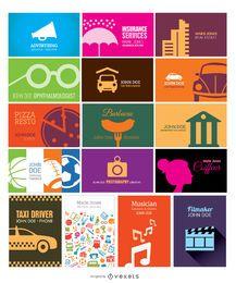 Colección de tarjetas de visita simples y creativas.