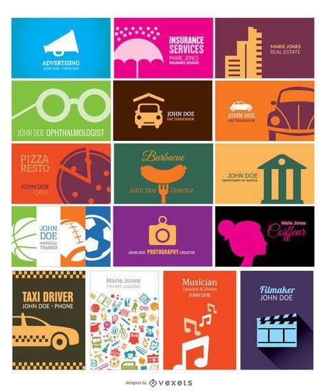 Colección de tarjetas de visita simple y creativa.