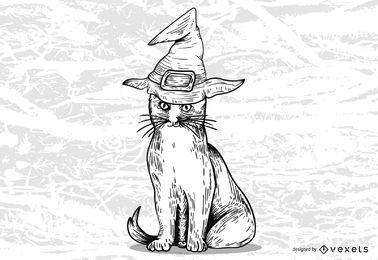 Fita de lápide de gato de bruxa de Halloween
