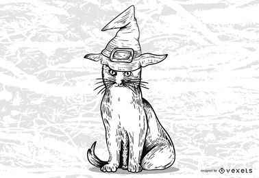 Halloween Witch Cat Design