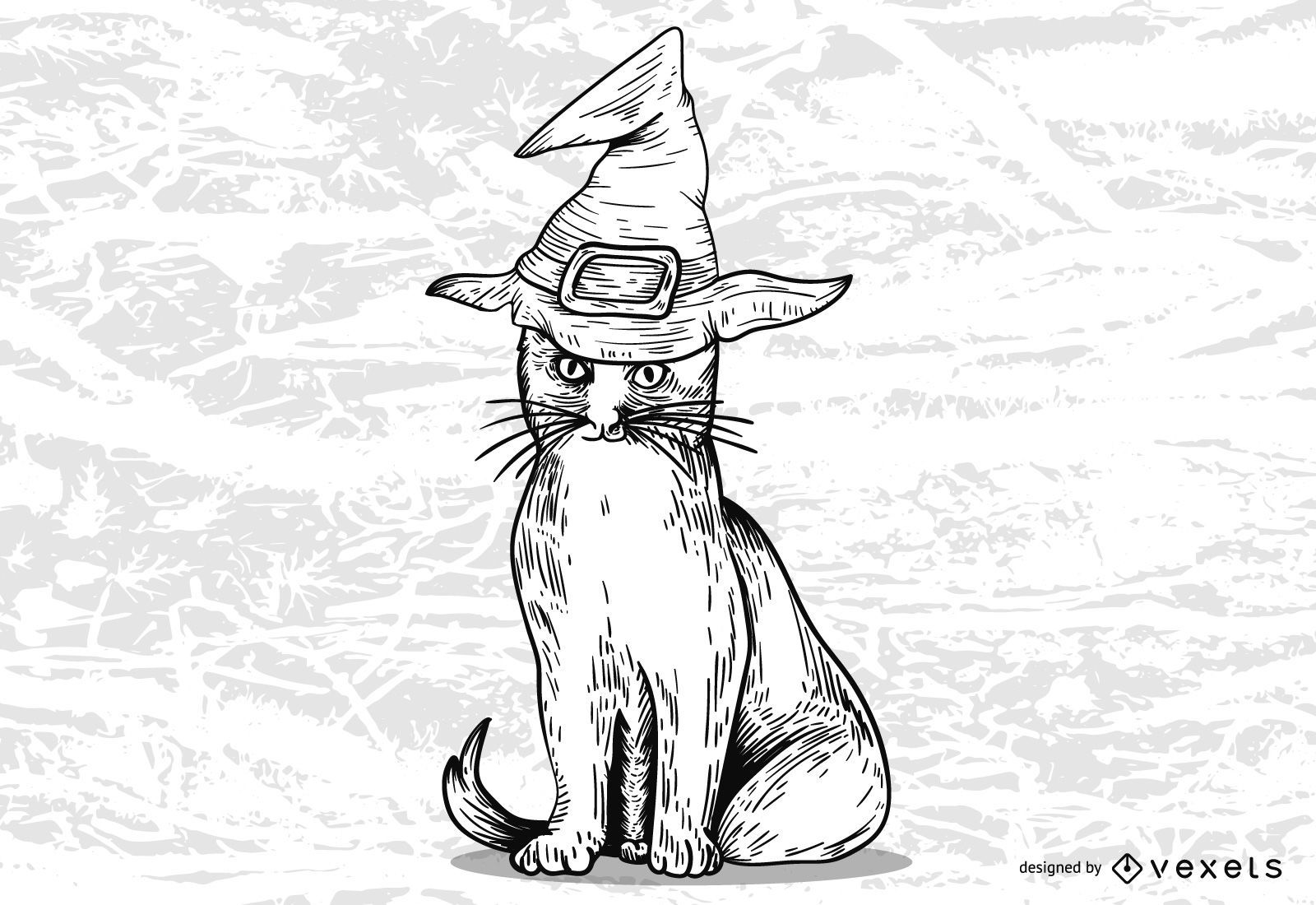 Diseño de gato bruja de Halloween