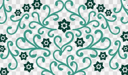 Flower Swirls on Checker Background
