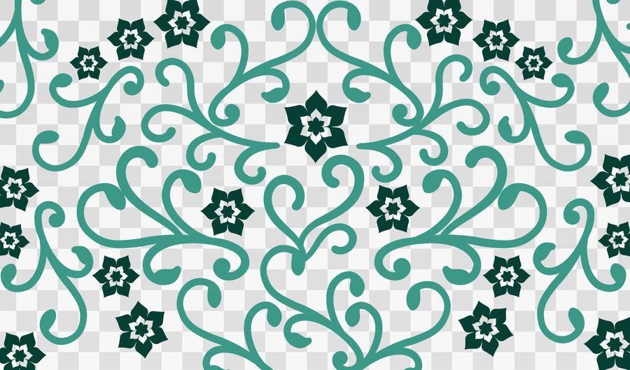 Flower Swirls on Checker Background