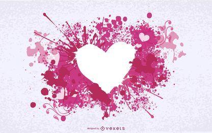 Tinta sucia salpicado corazon