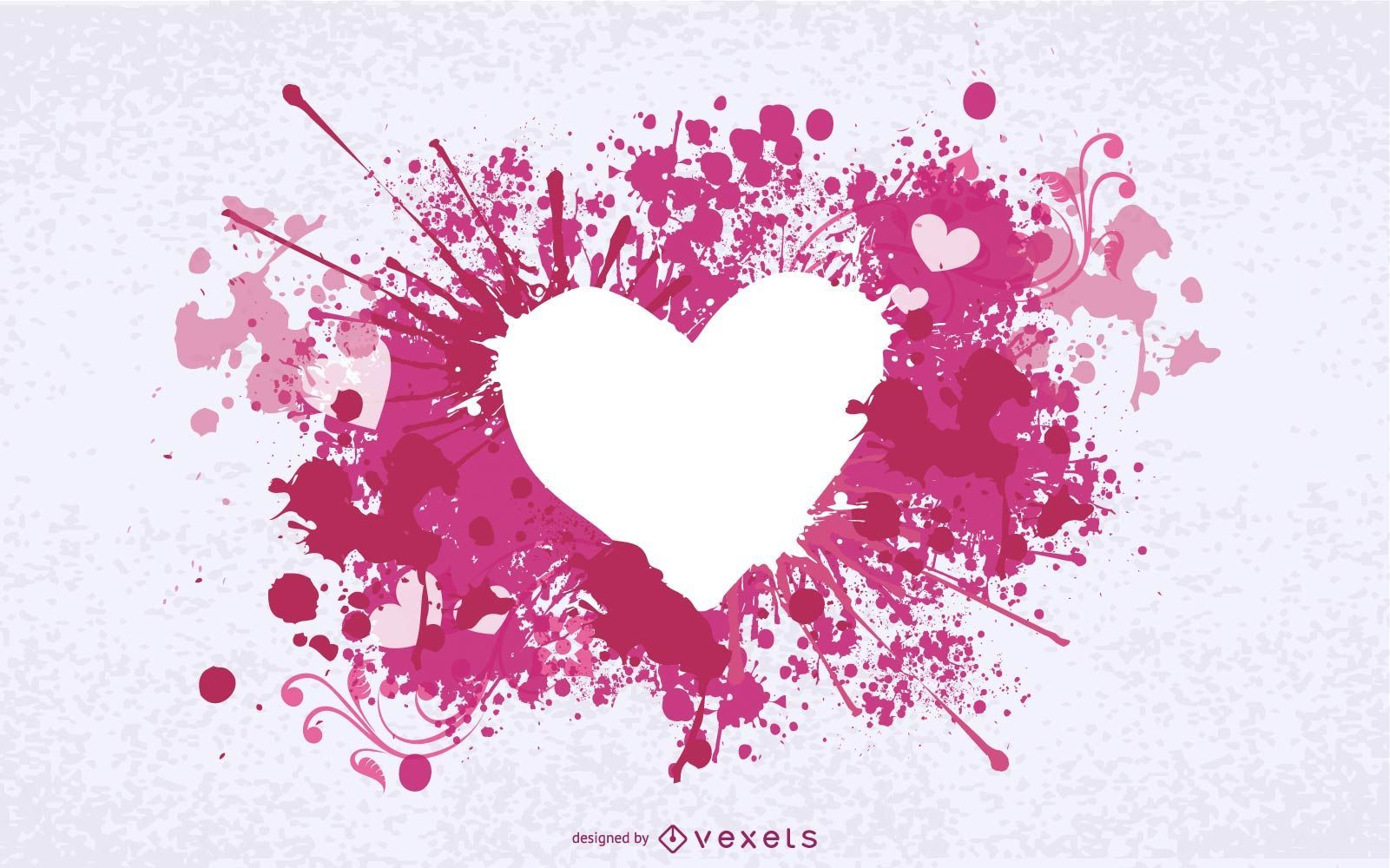 Grungy Ink Splashed Heart