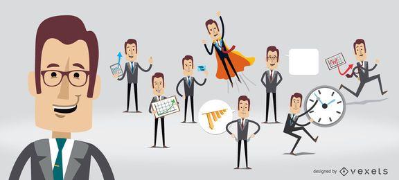 Personagem de empresário em várias poses