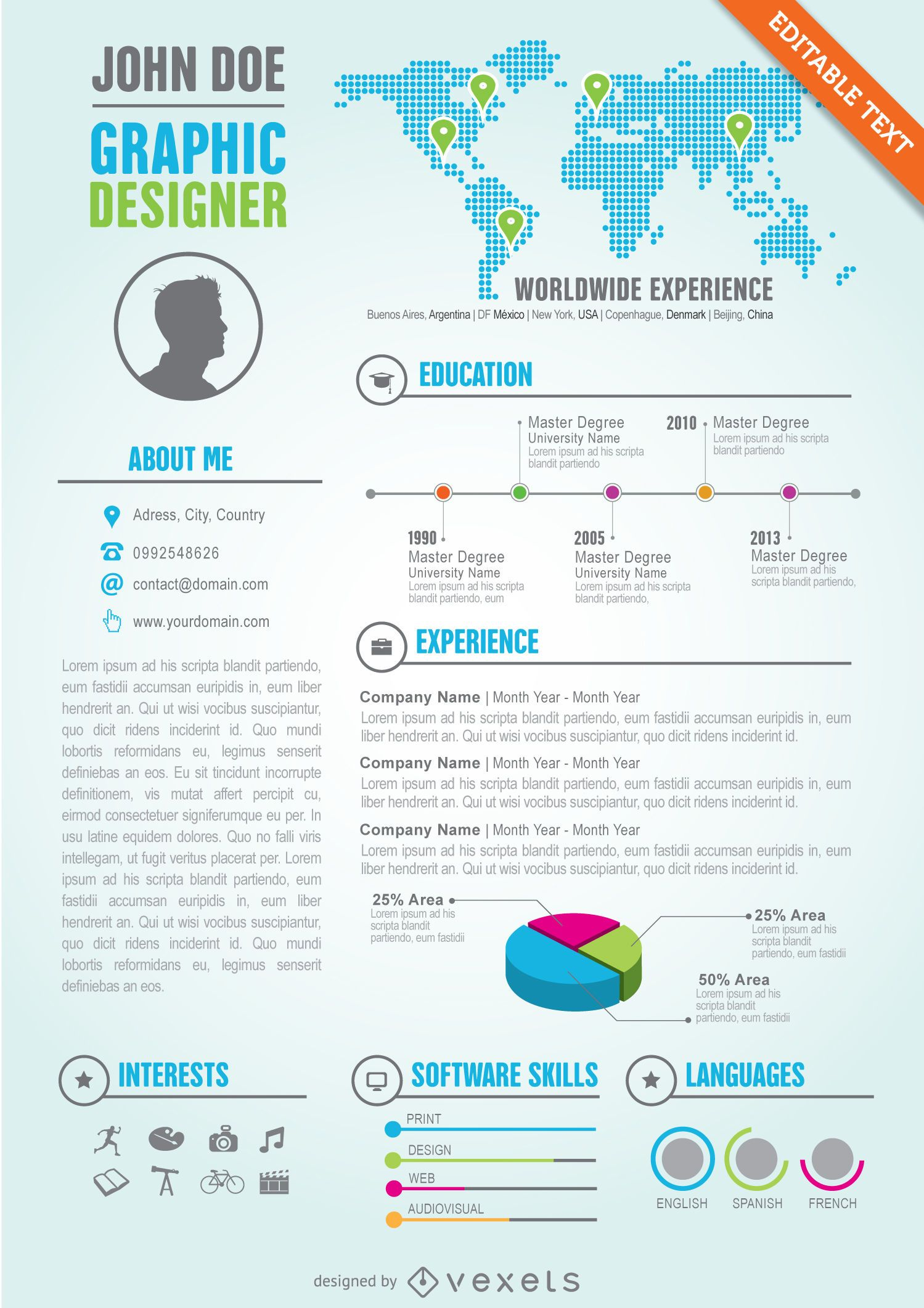 Plantilla de curriculum vitae editable de diseñador gráfico