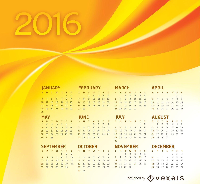 Yellow Calendar 2016