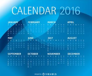 Plantilla de calendario azul 2016