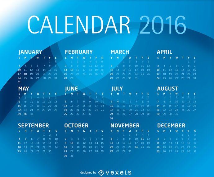 Modelo de calendário azul 2016