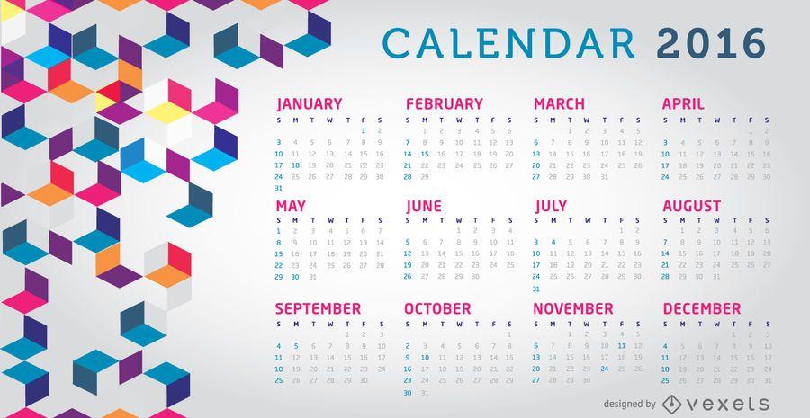 Calendário 2016 colorido