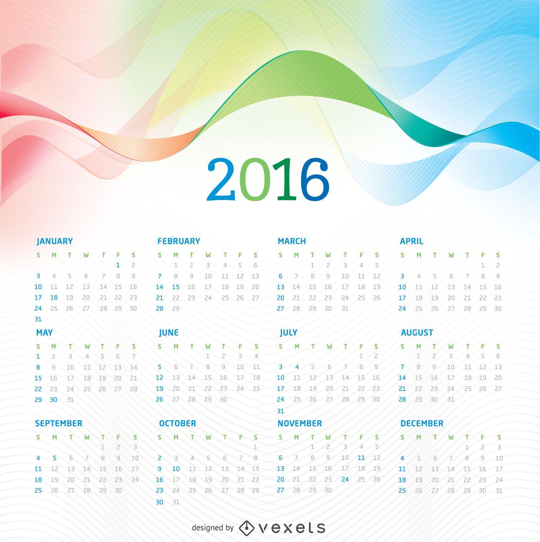 Calendario 2016 con fondo de colores