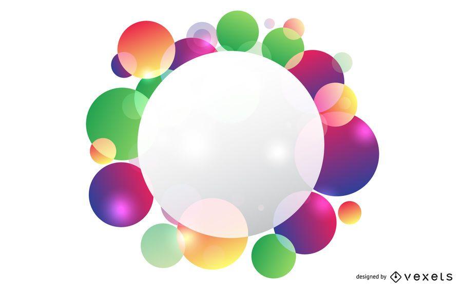 Banner de círculo de bolhas coloridas espirrado