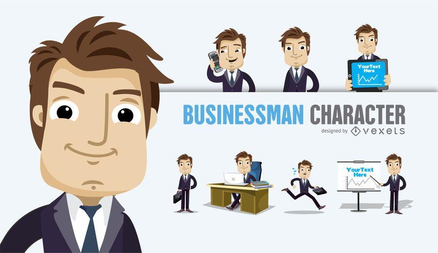 Personaje de dibujos animados empresario varias poses