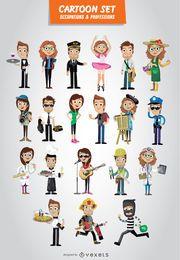 Berufe und Berufe Cartoon-Set