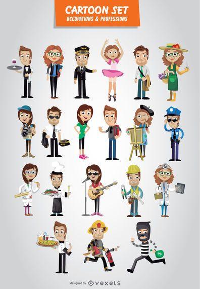 Conjunto de dibujos animados de ocupaciones y profesiones