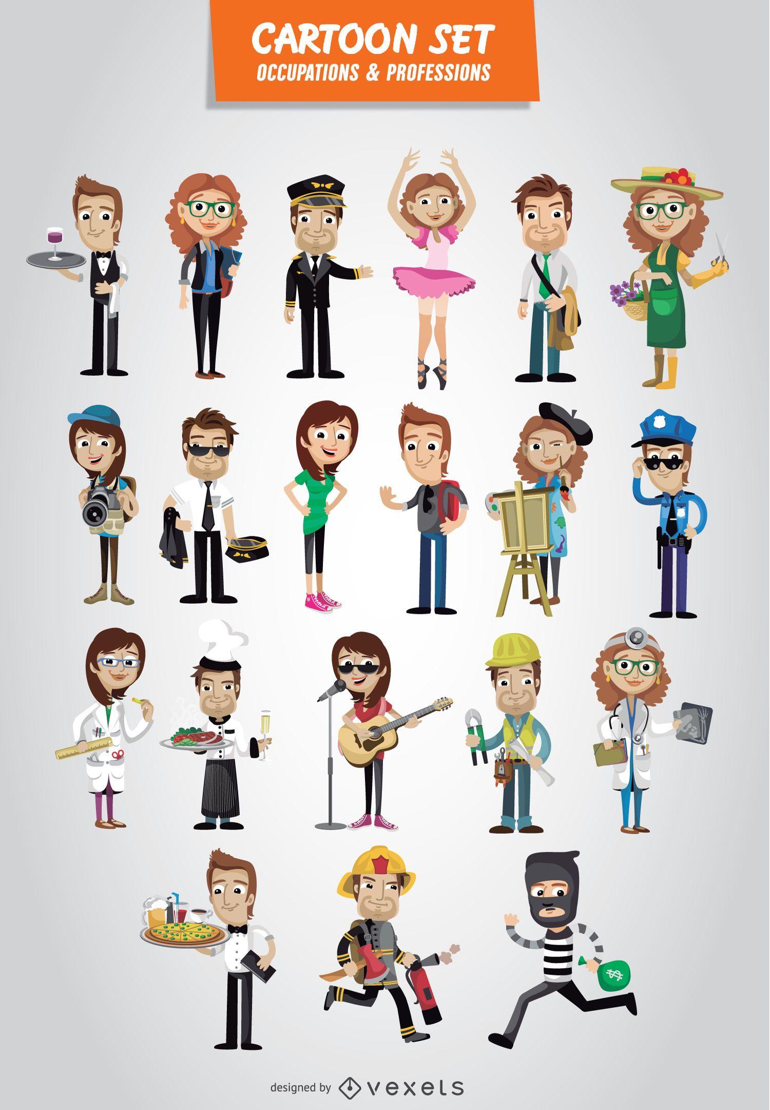 Conjunto de desenhos animados de ocupações e profissões