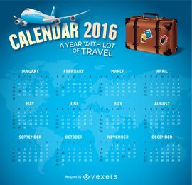 2016 Calendar Travel theme