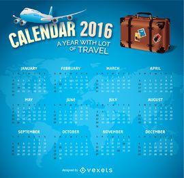 Tema de viagem de calendário de 2016