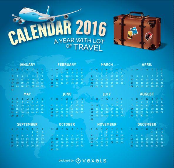 2016 Calendar Travel theme