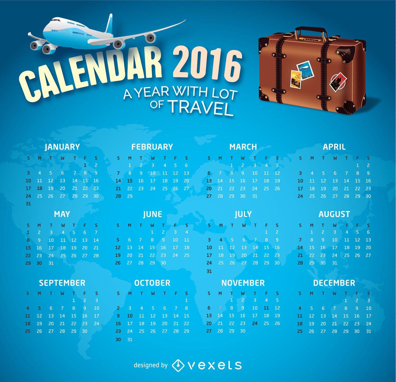 Tema de viaje del calendario 2016