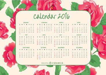 Calendário 2016 com rosas