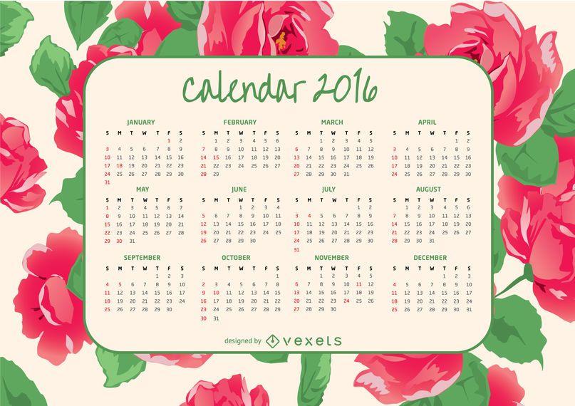 Calendário de 2016 com rosas