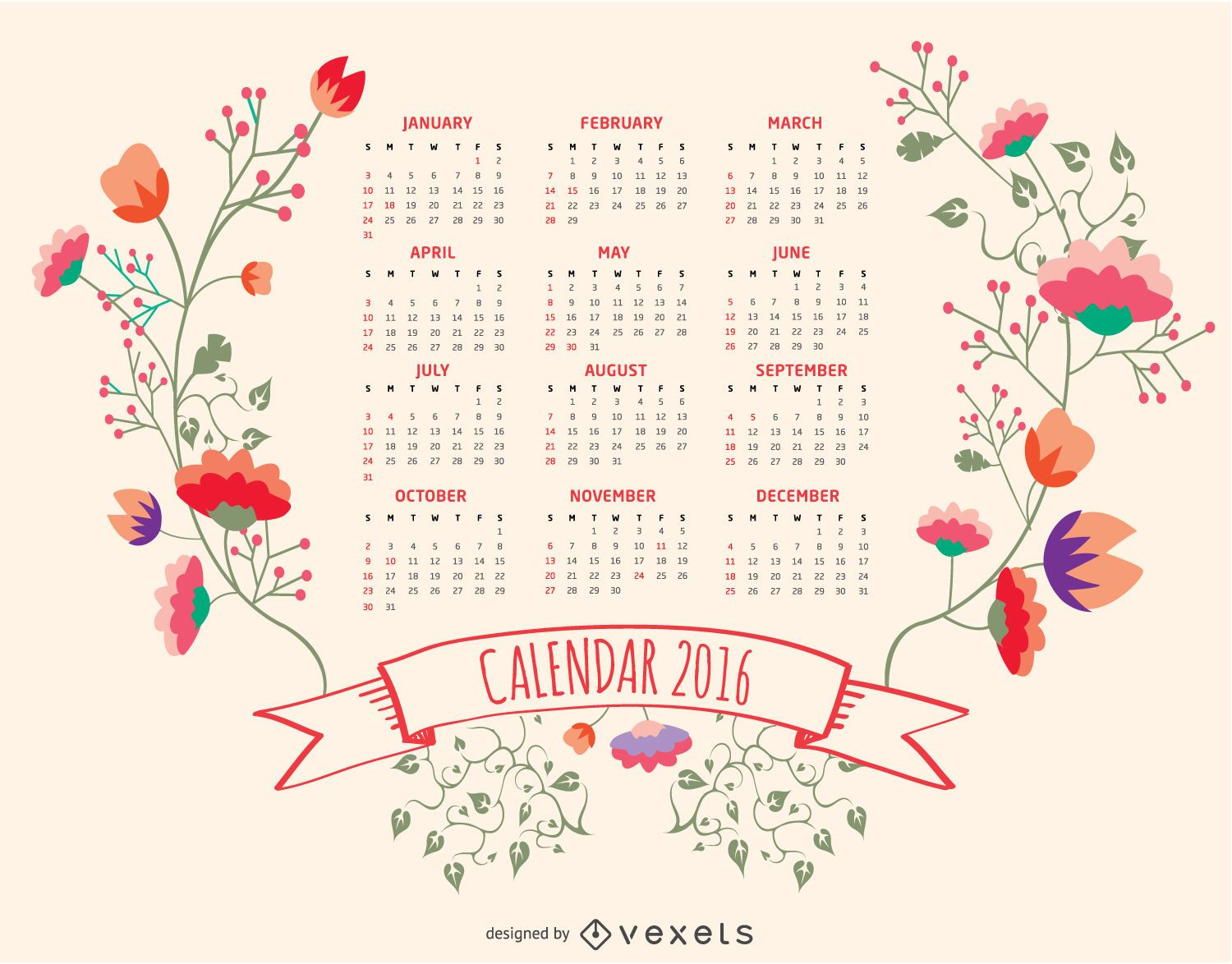 Calendar Floral : Floral calendar vector download