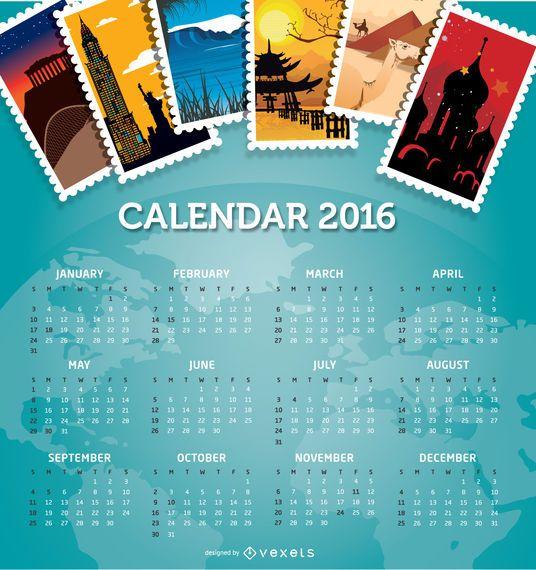 Destinos de viagem de calendário de 2016