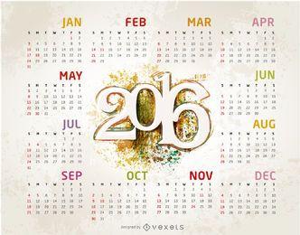 Grunge plantilla de 2.016 calendario