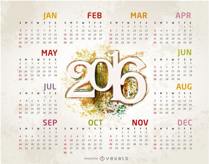 Grunge 2016 Kalendervorlage