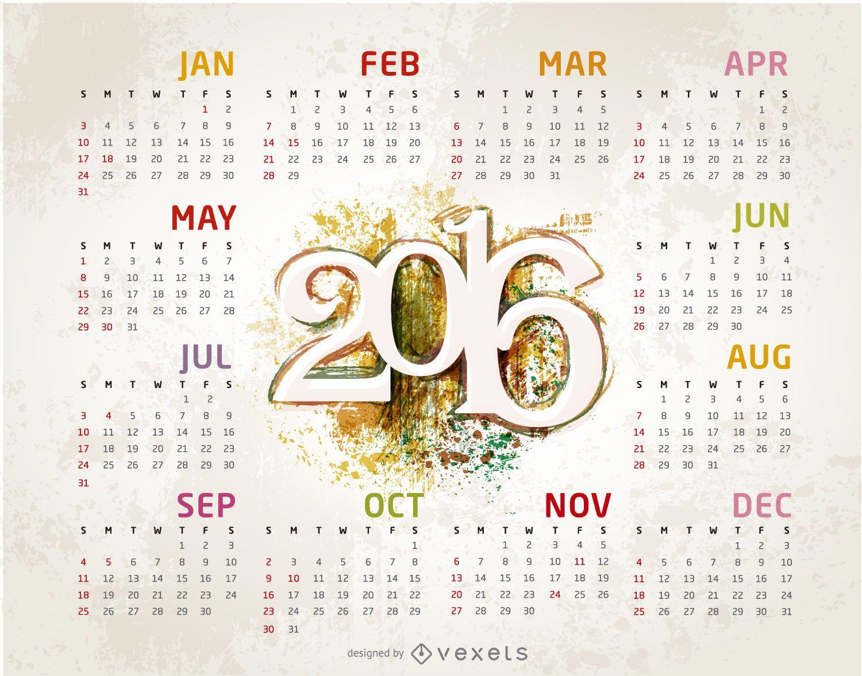 Grunge 2016 calendar template