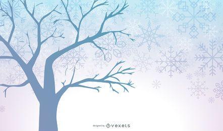 Fondo azul invierno árbol copos de nieve