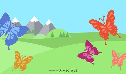 Fondo de mariposas de remolinos de verano
