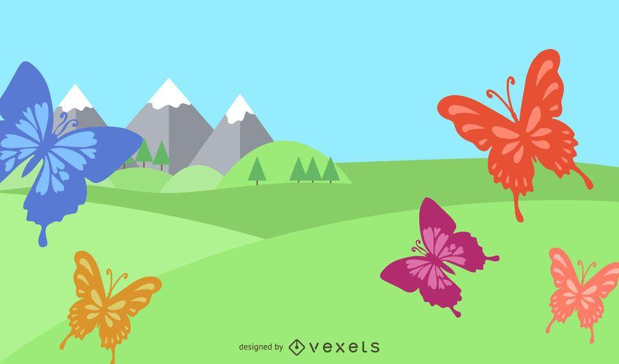 Summer Swirls Butterflies Background
