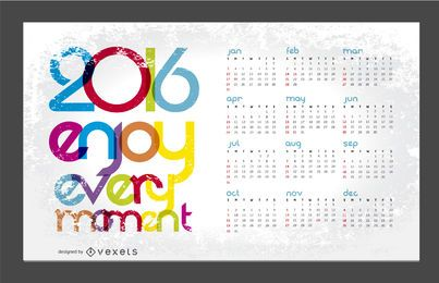 2016 calendar with message