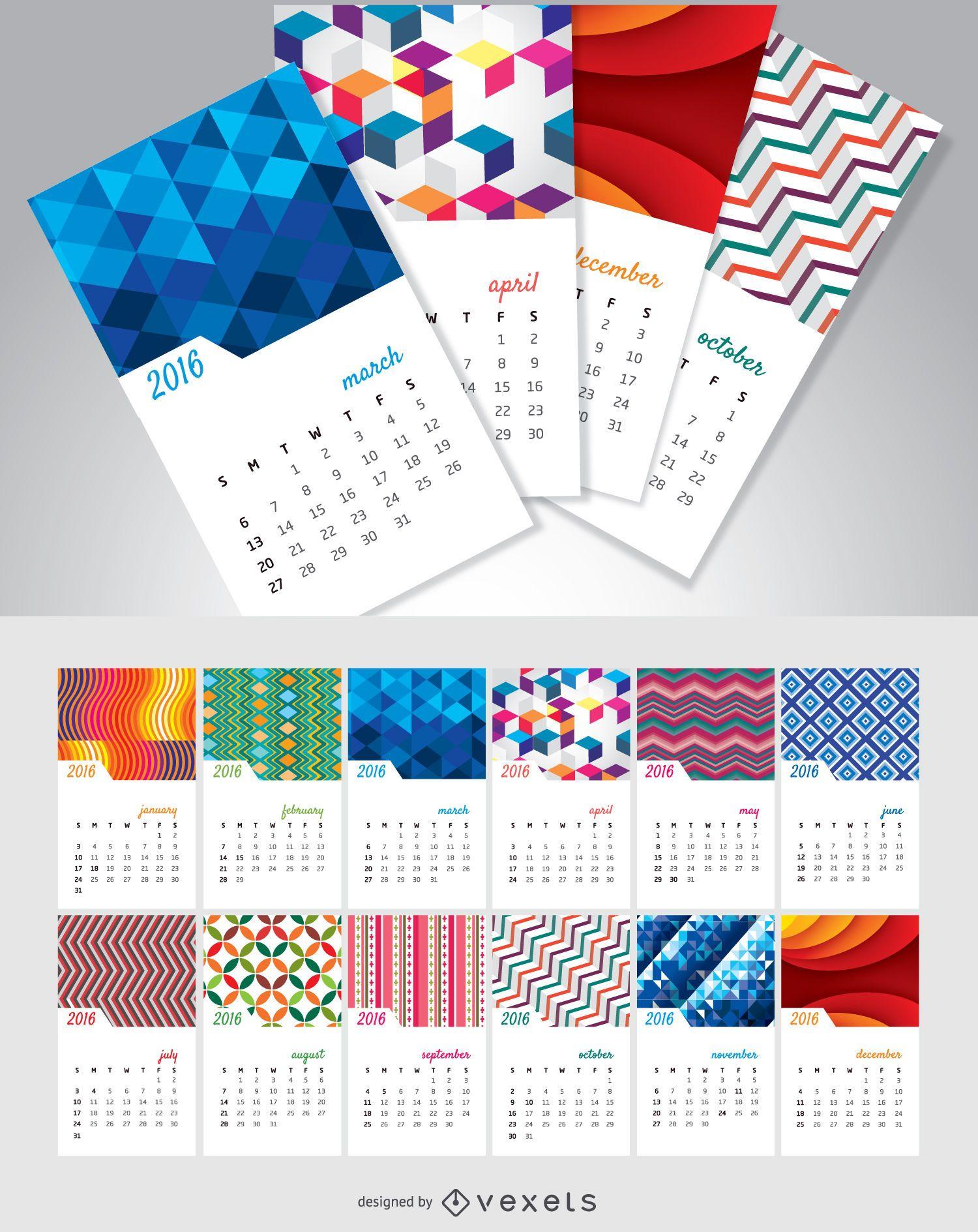 Calendario 2016 meses separados con fondos