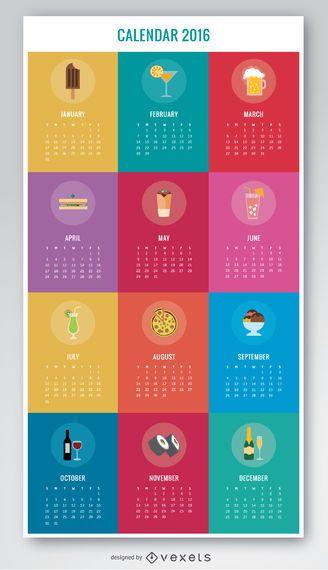 Calendario colorido de bebidas y comida 2016