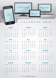 Aplicación multiplataforma o sitio web de Calendar 2016