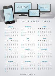 Aplicativo ou site multiplataforma do calendário 2016