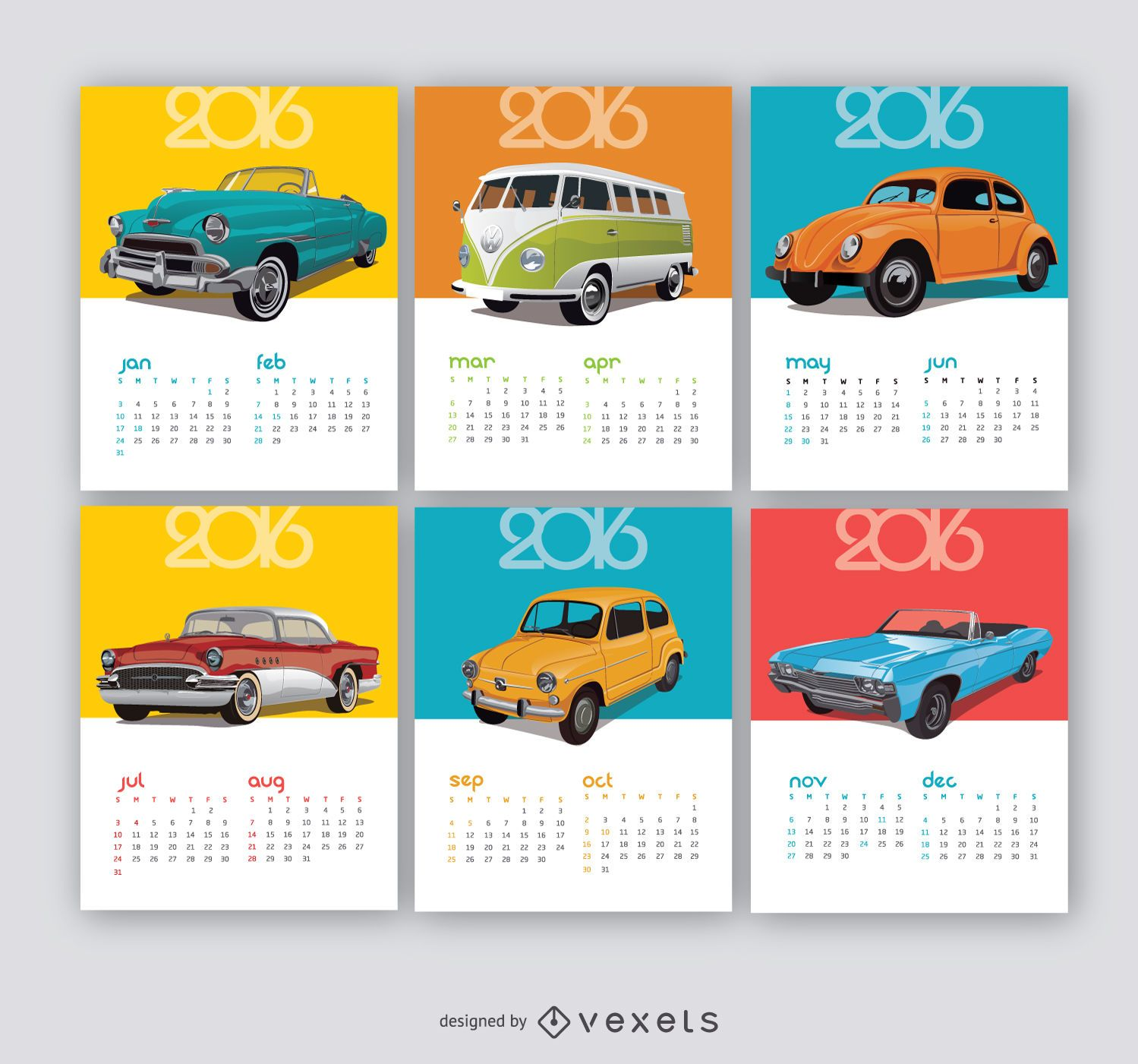 2016 Calendar Vintage cars - Vector download